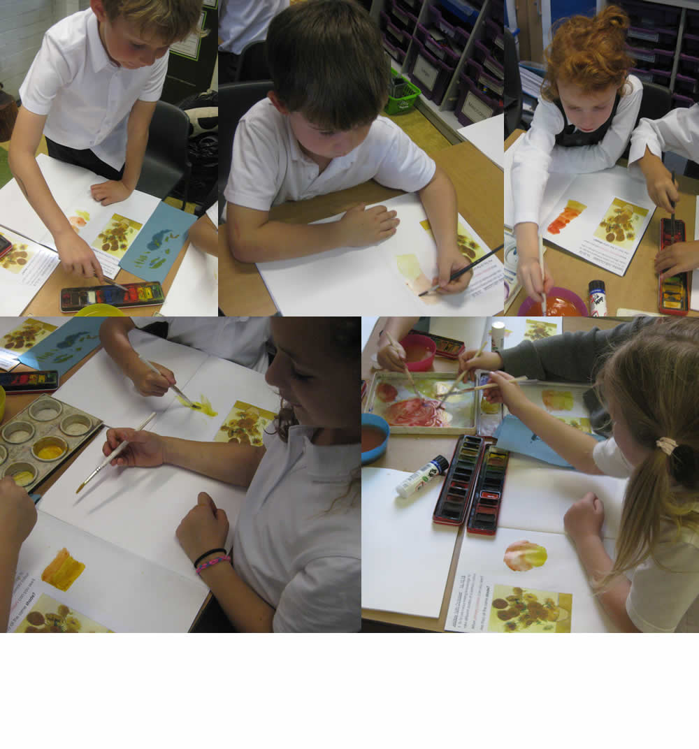 Mixing colours inspired by Vincent Van Gogh's Sunflowers.