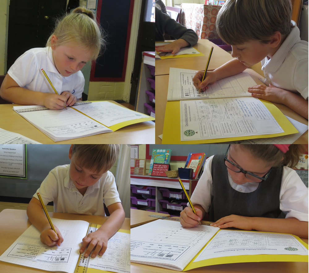 Working on place value in maths.