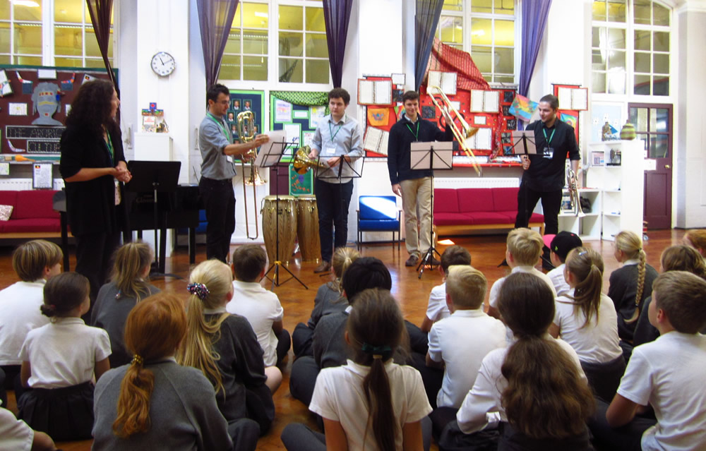 We were very interested when the musicians came from Trinity to play and talk about their instruments.
