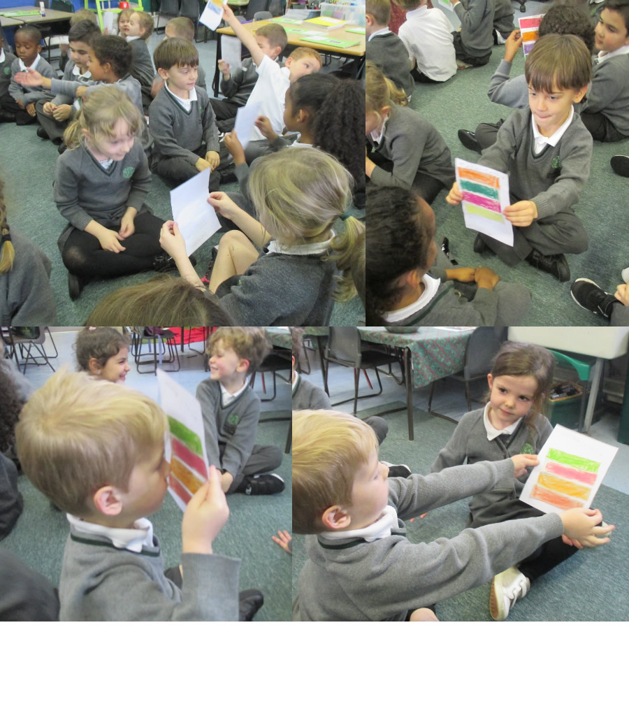 Investigating the effect of distance on sight with coloured strips.