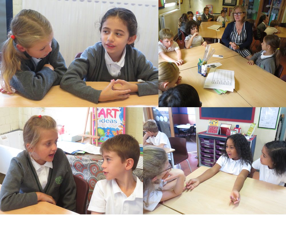 Planning writing by sharing ideas.