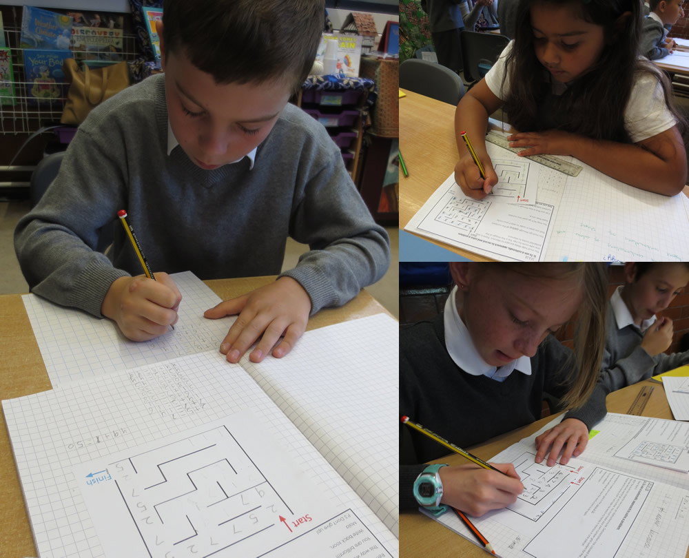 Devising a strategy to solve a maths problem.