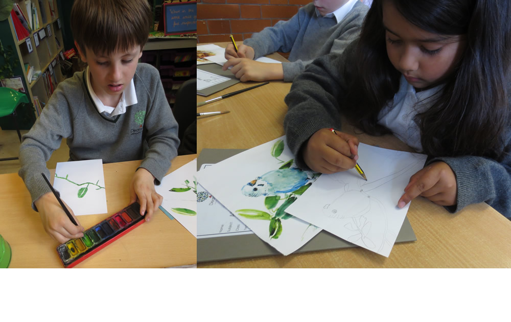 Painting rainforest pictures.