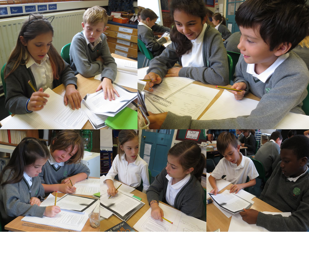 Working together to identify powerful vocabulary which enhances information.