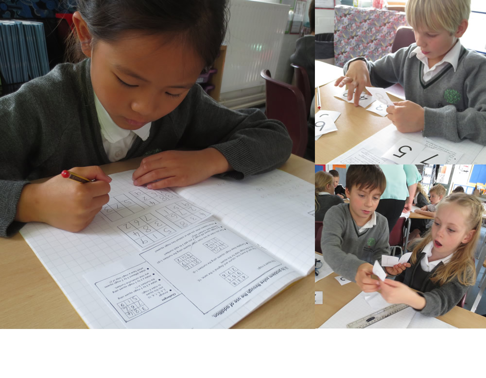 Using knowledge of addition to complete magic squares.
