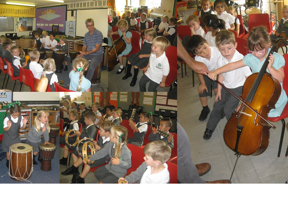Fun in music with Mr Moore.