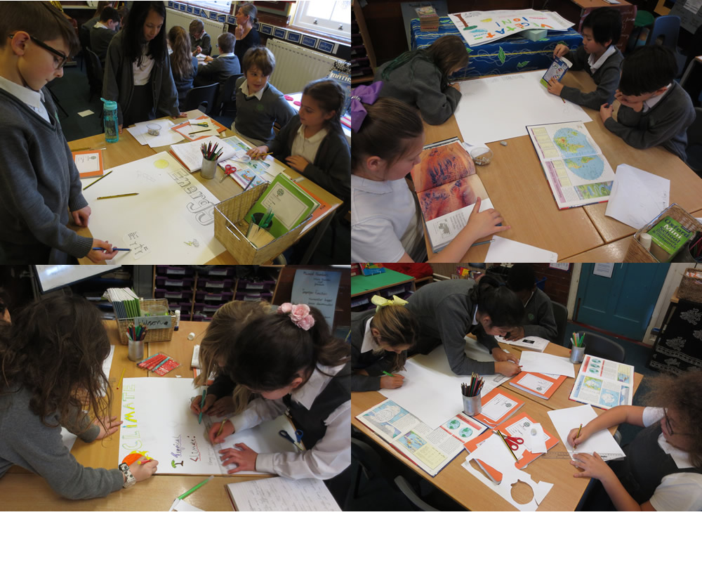Making posters of our research on The Earth in science.