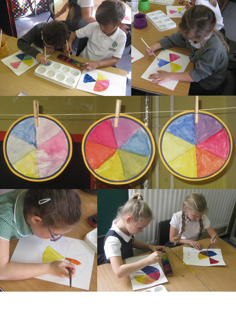 Mixing paints for colour wheels.