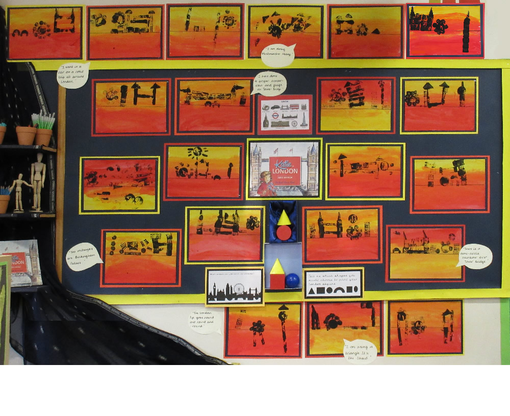 We used shapes to print pictures of London landmarks.