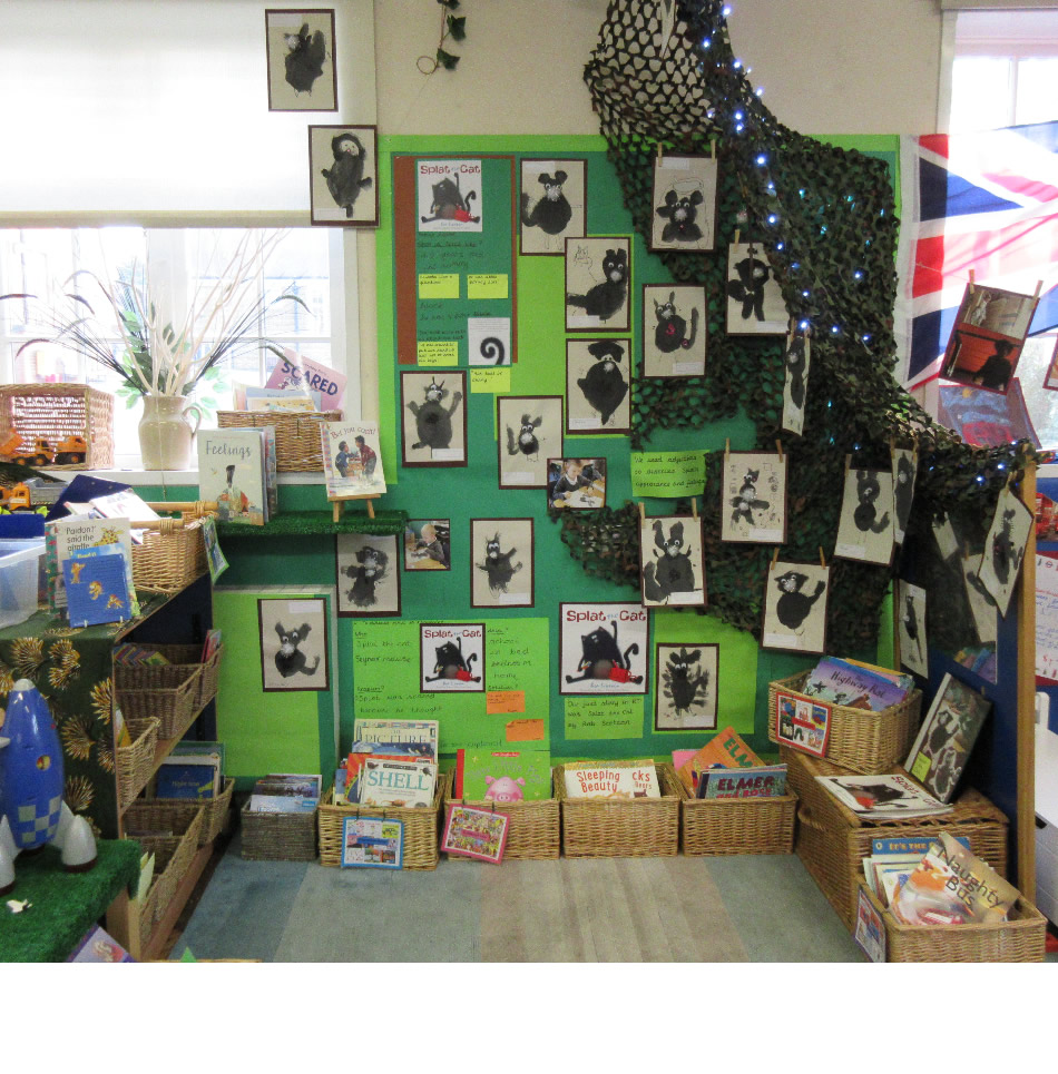 Our book corner is a gallery for our fantastic Splat the Cat paintings.