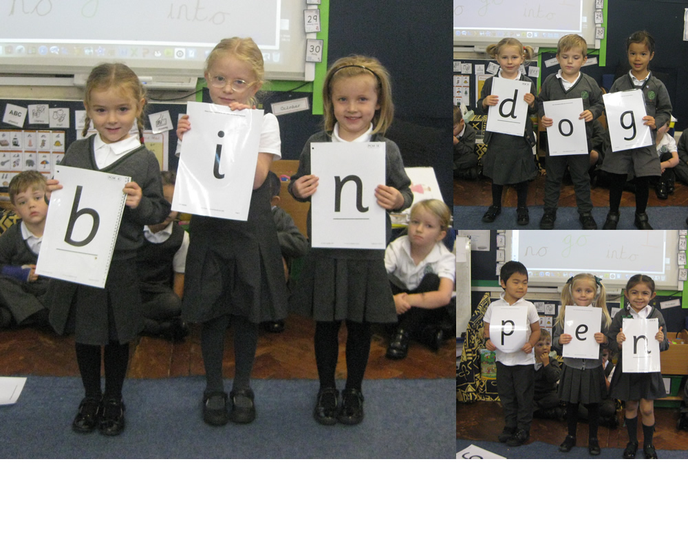 Using our phonics to make words.