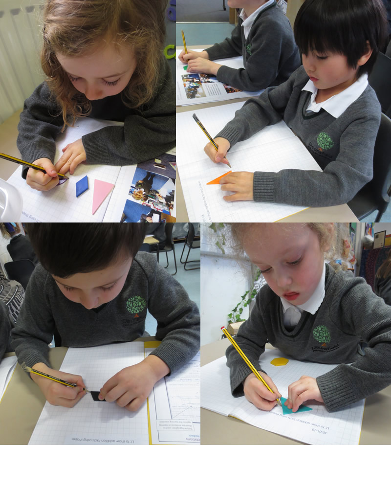 Drawing round shapes and adding the number of sides.