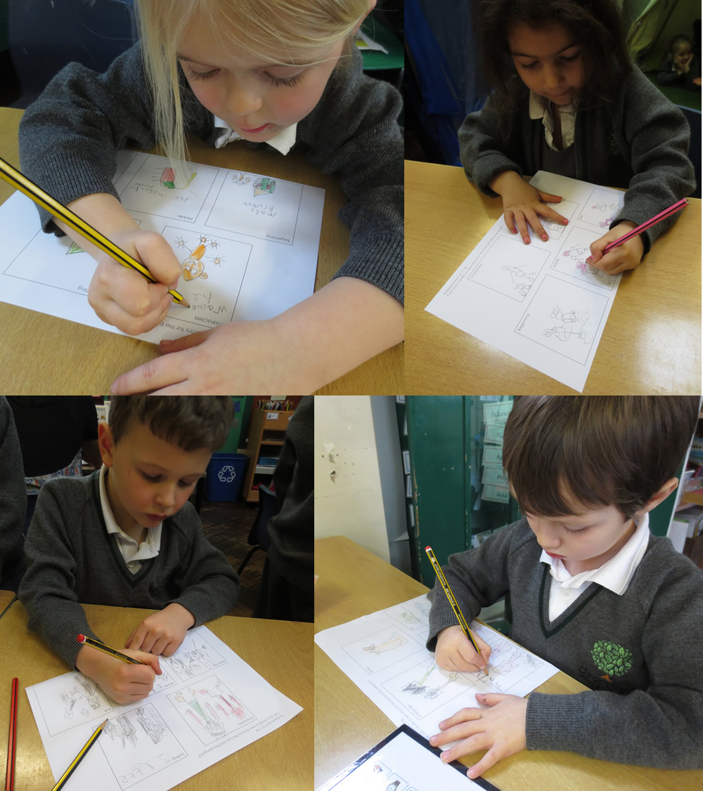 Writing our own penguin stories.