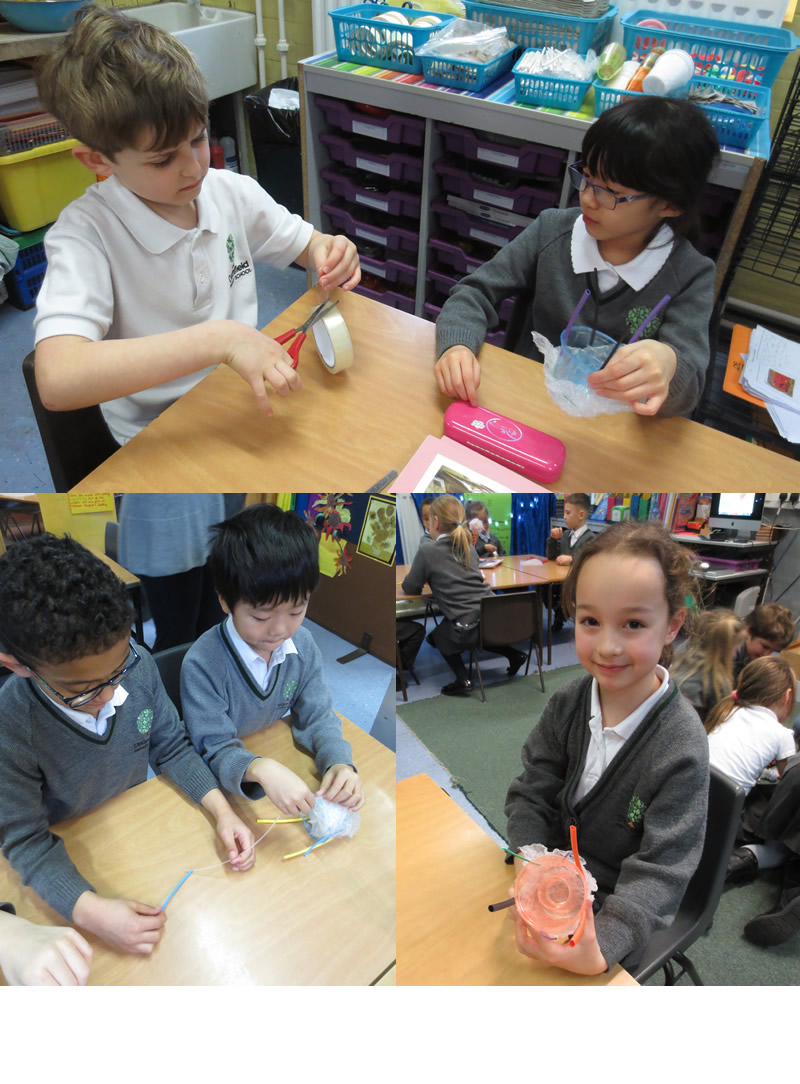 Making octopus models using recyclable materials.
