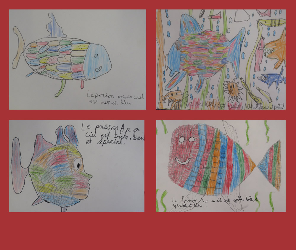 In French, we drew and described Le poisson arc-en-ciel.