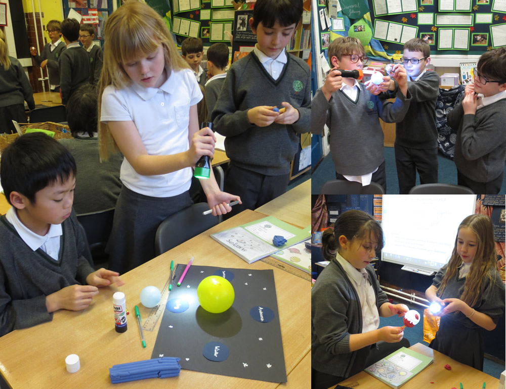 We prepared models to explain science statements about the sun, moon and earth.