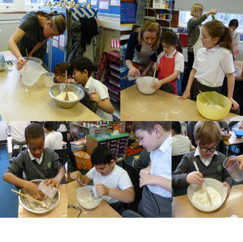 Adding water to make the dough.