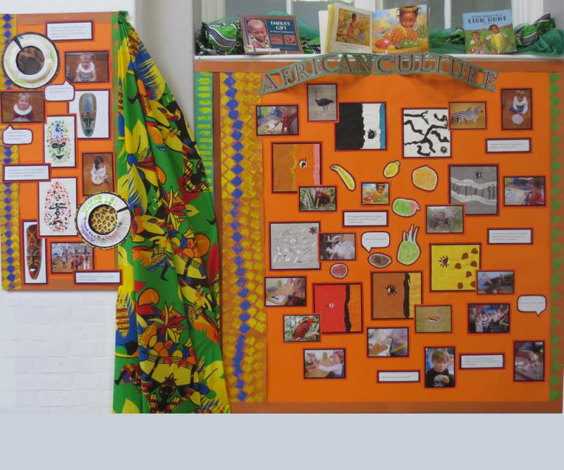 In Nursery we read the story 'Handa's Surprise' which is set in Kenya in Africa. We tasted fruit, looked at the markings on animals, made decorated neck rings and had an African celebration at which we made music.